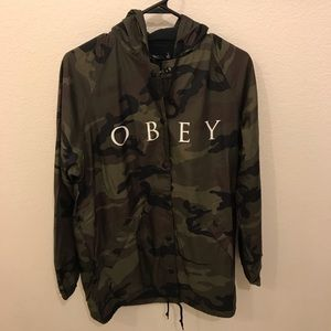 NWT Obey Camo Hooded Coaches Jacket